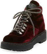 Prada Linea Rossa Velvet Lace-Up Combat Boot
