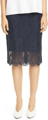 HUGO Riami Lace Scallop Hem Pencil Skirt