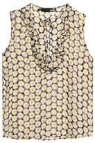 Love Moschino Ruffle Floral-Print Crepe Top