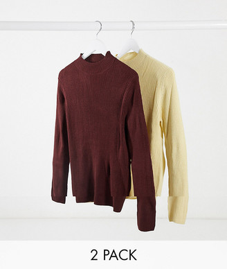 ASOS DESIGN 2 pack knitted rib turtleneck sweater in oatmeal & burgundy