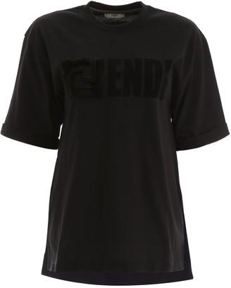 Fendi FF Mink Fur Detail T-Shirt