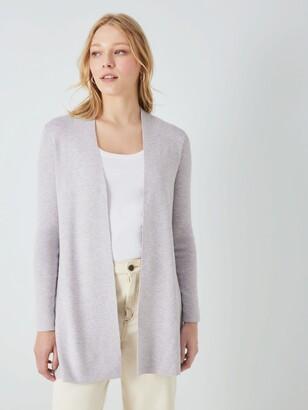 John Lewis & Partners Edge Longline Cardigan, Light Grey