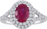 JCPenney FINE JEWELRY Lab-Created Ruby & White Sapphire Double Halo Ring in Sterling Silver