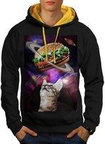 Space Burger Cat Fun Kitten Eat Men NEW S Contrast Hoodie | Wellcoda