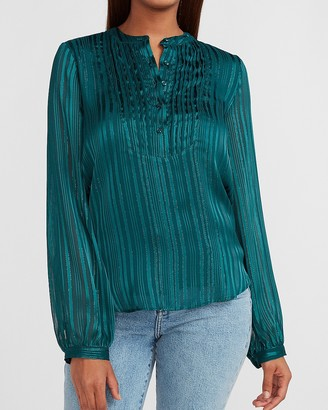 Express Metallic Striped Pleated Front Top