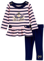 Juicy Couture Striped Scottie Dog Logo Tunic & Legging Set (Little Girls)