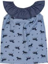 Princess Linens Sleeveless Frill Collar Dress - Blue, Size 12-18m