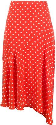 Essentiel Antwerp Asymmetric Polka Dot Print Skirt