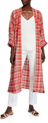Forte Forte Tartan Plaid Linen-Cotton Duster Coat
