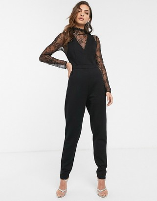 French Connection lace sleeve jumpsuit
