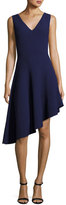 Milly Sleeveless Asymmetric Draped Dress, Indigo
