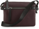 Neiman Marcus Honeycomb Faux-Leather Crossbody Bag, Blackberry
