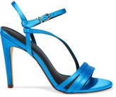 Tibi Vivian Satin Sandals - Azure