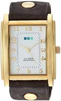 La Mer Women's 'Tank Black' Quartz Gold-Tone and Leather Casual Watch, Color:Grey (Model: LMHOZ2023)