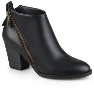 Brinley Co. Women's High Heeled Zippered Chunky Heel Ankle Booties