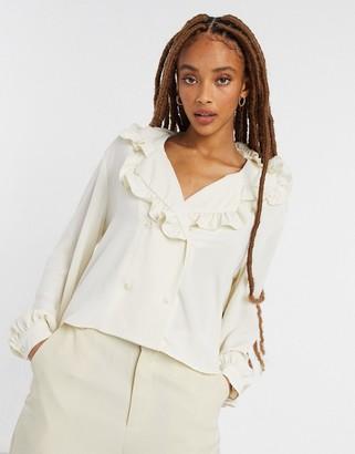 Monki Marian collared blouse in white