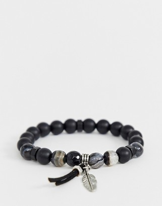 ASOS DESIGN beaded bracelet with agate stones and feather detail in black