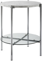 "Walker Edison 20"" Modern Round End Table w/ Glass Shelf, Top: White Marble, Legs: Ch"