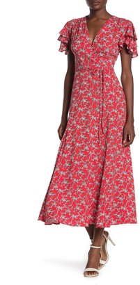 French Connection Cersier Floral Print Midi Dress