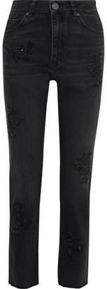 Sandro Sequin-embellished High-rise Straight-leg Pants
