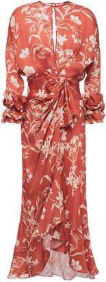Johanna Ortiz Botanical Gardens Draped Floral-print Silk-cady Midi Dress