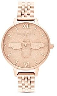 Olivia Burton Glitter Dial Link Bracelet Watch, 34mm