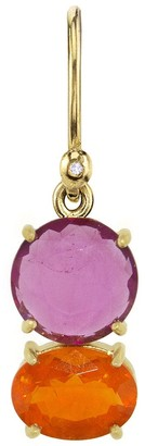 Irene Neuwirth One-Of-A-Kind Pink Tourmaline Circle and Oval Fire Opal Yellow Gold Single Earring
