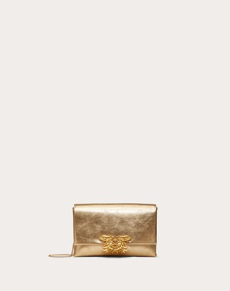 Valentino Garavani Small Crossbody Bag In Metallic Craquelure-effect Calfskin With Griffin Accessory Women Dark Gold 100% Pelle Di Vitello - Bos Taurus OneSize