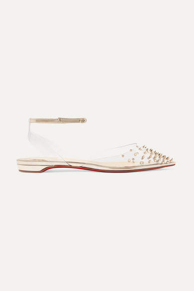 Christian Louboutin Spikoo Spiked Pvc And Mirrored-leather Point-toe Flats - Silver