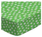 686 SheetWorld Fitted Basket Sheet - Primary Stars White On Green Woven - Made In USA - 13 inches x 27 inches (33 cm x cm)