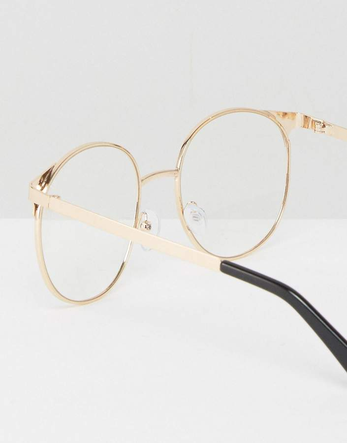 Asos Geeky Metal Round Clear Lens Glasses