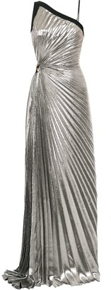 Thierry Mugler Goddess pleated lame gown