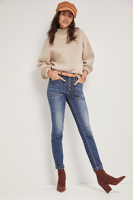 Pilcro And The Letterpress Pilcro High-Rise Patch Pocket Skinny Jeans By in Blue Size 25