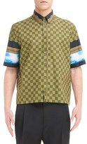 Givenchy Men's Checkerboard Print Short Sleeve Shirt