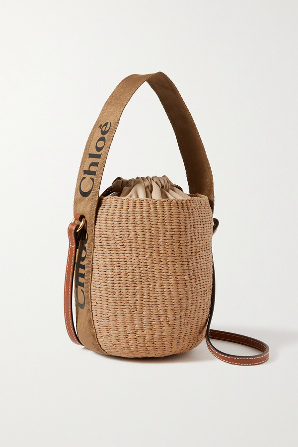 Chloé Woody Small Leather-trimmed Striped Raffia Basket Bag - Brown