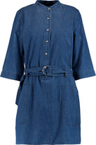 Marc by Marc Jacobs Belted cotton and silk-blend chambray mini dress