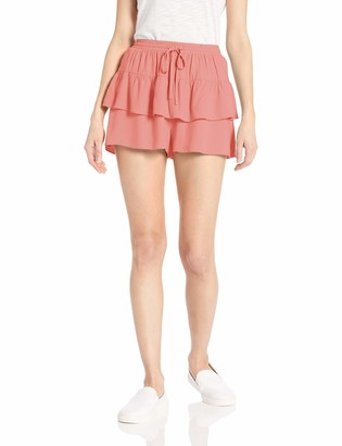 Jack by BB Dakota Womens Layer up Rayon Twill Ruffle Short
