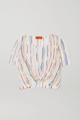 Missoni Mare Tie-front Crochet-knit Top - White
