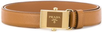 Prada enamel buckle leather belt