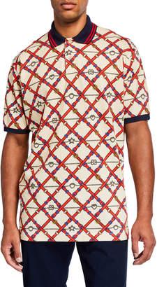 Gucci Men's Allover Pattern Pique Polo Shirt