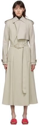 Bottega Veneta Taupe Twill and Leather Fluid Coat