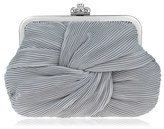Nina Pleated Chiffon Frame Clutch - Grey