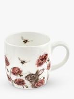 Wrendale Designs Poppies & Bees Mug, 310ml, White/Multi