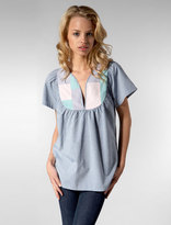 Chambray Patchwork Top in Indigo