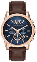 Armani Exchange Chronograph Date Leather Strap Watch, Dark Brown/blue