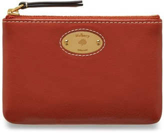 Mulberry Plaque Small Zip Coin Pouch Rust Silky Calf