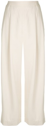 Shanghai Tang Jewel Button Cropped Palazzo Trousers