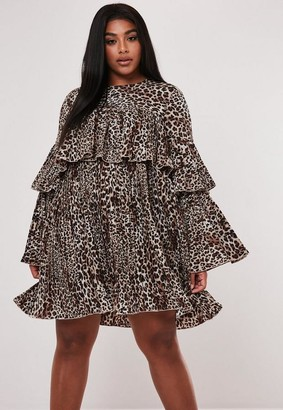 Missguided Plus Size Brown Leopard Print Pleated Smock Dress
