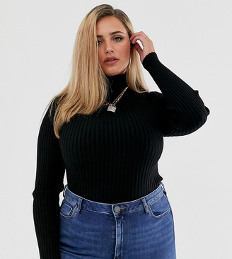 ASOS DESIGN Curve roll neck jumper in fine knit rib