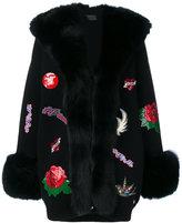 Philipp Plein patch fox fur trim cardigan